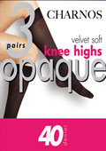 Charnos Velvet Soft 40 Denier Opaque Knee Highs (3 Pair Pack)
