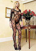 Leg Avenue Bow Lace Long Sleeved Bodystocking (8045)