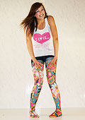 Leg Avenue Opaque Tights With Vintage Flower Print 7416