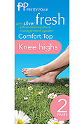Pretty Polly Silver Fresh Comfort Top Knee Highs (2 Pair Pack)