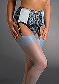 Sassy 6 Strap Powder Blue and Black Suspender Belt
