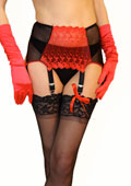 Sassy 6 Strap Red Lace With Hearts Suspender Belt